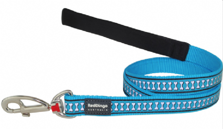Red Dingo Reflective Dog Lead Turquoise